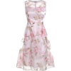 Floral Printed Sleeveless Organza A Line - Dresses -
