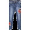 Floral Frayed Distressed Hem Jeans - Capri & Cropped -