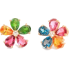Flowers Stud Earrings Colorful Gemstone, - イヤリング -