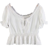 French Retro Lace Short Neck Top - Shirts - $25.99