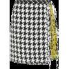 Fringed Houndstooth Wool-Blend Skirt - Skirts -