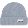 GANNI Logo-patch rib-knit bean - ハット -