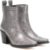 GANNI Western leather ankle boots - Buty wysokie -