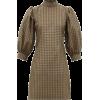 GANNI brown gingham mini dress - Obleke -