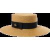 GUCCI Grosgrain-trimmed glittered straw - Hat -