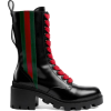 GUCCI Leather ankle boot with Web - Čizme -