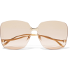 GUCCI Square-frame gold-tone sunglasses - Sunglasses -