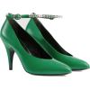 GUCCI green Leather pump with crystals - Klasyczne buty -