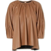 Gathered Brown Faux Leather Top - Other -