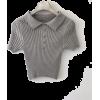 Gentle gray lapel small short short-sleeved T-shirt - Košulje - kratke - $19.99  ~ 126,99kn