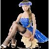 Girl Vintage Blue People - People -