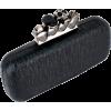 Glamorous Designer Inspired Gothic Skull Studded Ring Closure Hard Case Baguette Evening Clutch Bag Handbag Purse w/2 Detachable Chains Black - Clutch bags - $49.50