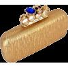 Glamorous Designer Inspired Gothic Skull Studded Ring Closure Hard Case Baguette Evening Clutch Bag Handbag Purse w/2 Detachable Chains Gold - Torbe s kopčom - $49.50  ~ 42.51€