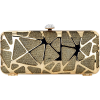 Glitzy Abstract Glitter Frosting Rhinestone Clasp Long Hard Case Box Clutch Baguette Evening Bag Purse Minaudiere Gold - Torby z klamrą - $24.50  ~ 21.04€