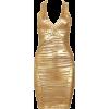 Gold Striped Foil Print Bandag Dresses - Dresses - $135.00
