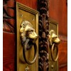 Golden lions on red doors - Buildings -