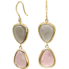 Gold quartz chalcedony earrings - Naušnice -