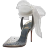 Gray Shoes with Sheer Bow - サンダル -