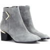 Gray Suede Ankle Boots - Buty wysokie -