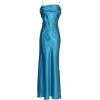 Grecian Satin Prom Formal Gown Long Holiday Party Cocktail Dress Bridesmaid Turquoise - Dresses - $69.99