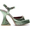 Green Leather Sandals - Sandals -