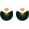 Green And Gold Tone Sparkle Fan Earrings - Naušnice -