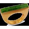 Green Baguette Ring - Obroči -