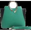 Green & Black Color Block Metal Handle S - Mensageiro bolsas - $85.00  ~ 73.01€