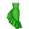Green Ruffled Silk Midi - Obleke -