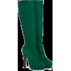 Green Suede Calf Boots. - Čizme -