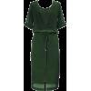 Green Tied Waist Split Front Midi Dress - Dresses -