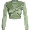 Green V-neck satin long-sleeved slim sho - Hemden - kurz - $25.99  ~ 22.32€