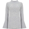 Grey Flute Sleeve Jumper - Pullovers -