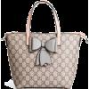 Grey Bow Faux Leather Tote Bag Cute Hand - Borsette -