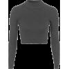 Grey Crop Top Ribbed - Long sleeves shirts -