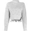 Grey. Pullover. Black lace. - Swetry -