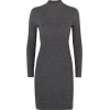 Grey Ribbed Bodycon Dress - Vestiti -