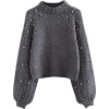 Grey pearl knitted jumper - Pullovers -