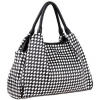 HITOMI Chic Everday Black / White Woven Weave Checkered Top Double Handle Shopper Tote Hobo Shoulder Bag Satchel Purse Handbag - Torbice - $35.50  ~ 225,52kn