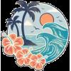 Hawaiian wave sticker by karestolarczyk - Rascunhos -