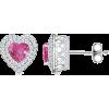 Heart Pink Sapphire Earrings - Earrings - $1,779.00