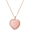Heart Rose Quartz & Diamond Pendant Neck - Ogrlice -
