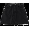 High Waisted Cutoffs Mini Denim Skirt - Saias -