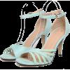 High heel open toe mint green sandal - Sandalias -