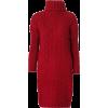 High neck long sweater hem split knit dr - Dresses - $35.99