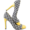 Houndstooth Shoes with Yellow Heel. - Resto -