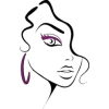 Illustration of Woman's Face with Purple - Other -