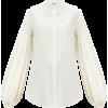 JIL SANDER Gathered-sleeve poplin blouse - Koszule - długie -