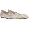 JIMMY CHOO Romy leather-trimmed glitter - Flats -