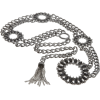 Jessica Simpson Women's Round Stone Ornament Buckle Chain Belt Grey - Remenje - $40.00  ~ 34.36€